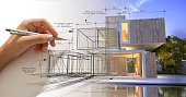 istock Hand sketching a designer villa with pool 1063723682