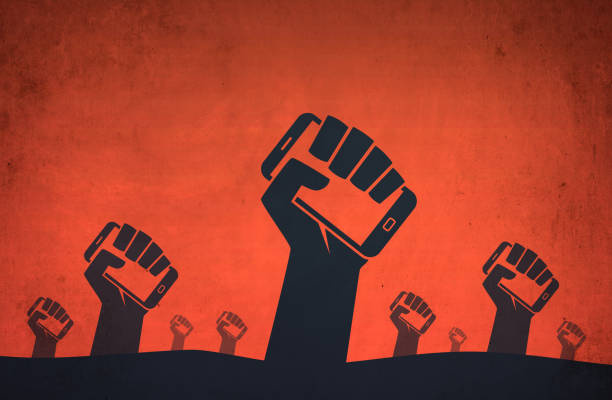 hand smartphone digital revolution protests - defiance stock pictures, royalty-free photos & images