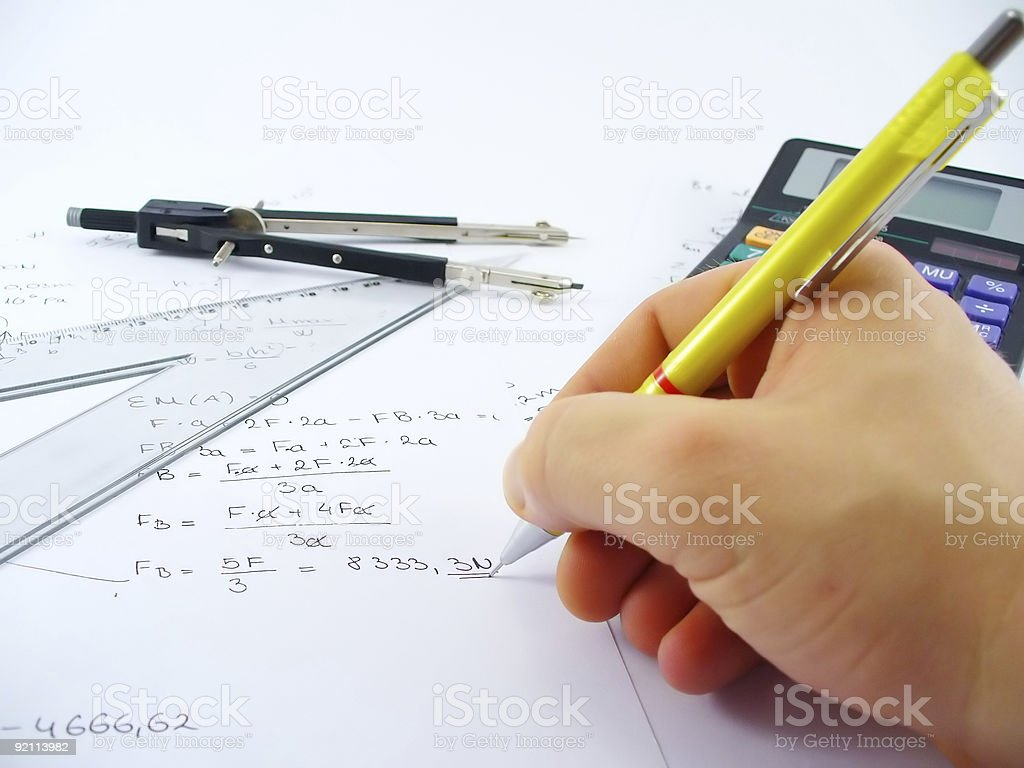 hand solving problem royalty-free stock photo