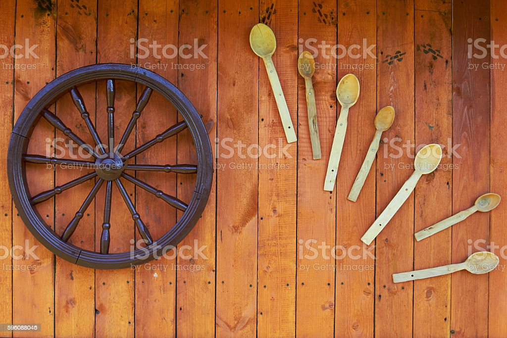 Hand spinning wheel on the wall of the old log royalty-free stock photo