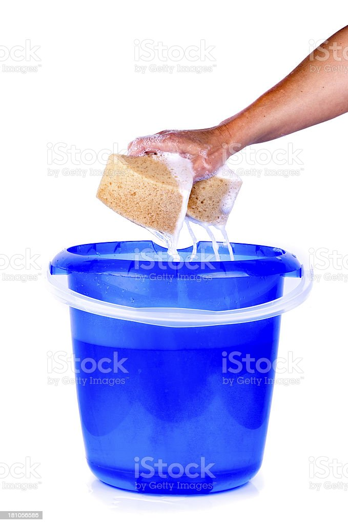 Hand Squeezing Sponge Into Bucket on white background stock photo
