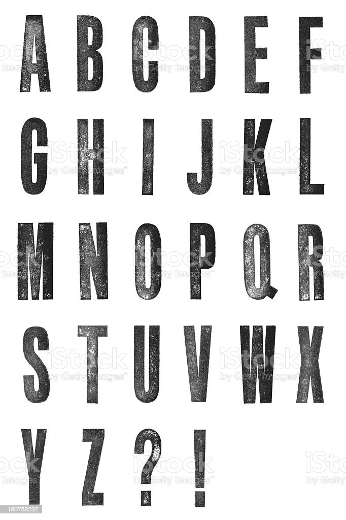 Hand stamped letterpress alphabet isolated on white stock photo