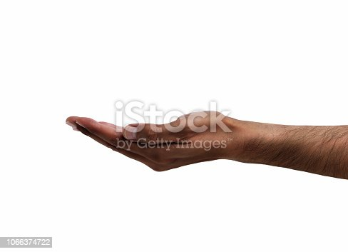 African man hand with palm up isolated on white