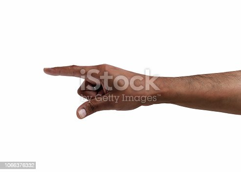 African man hand pointing the finger tossing a coin isolated on white