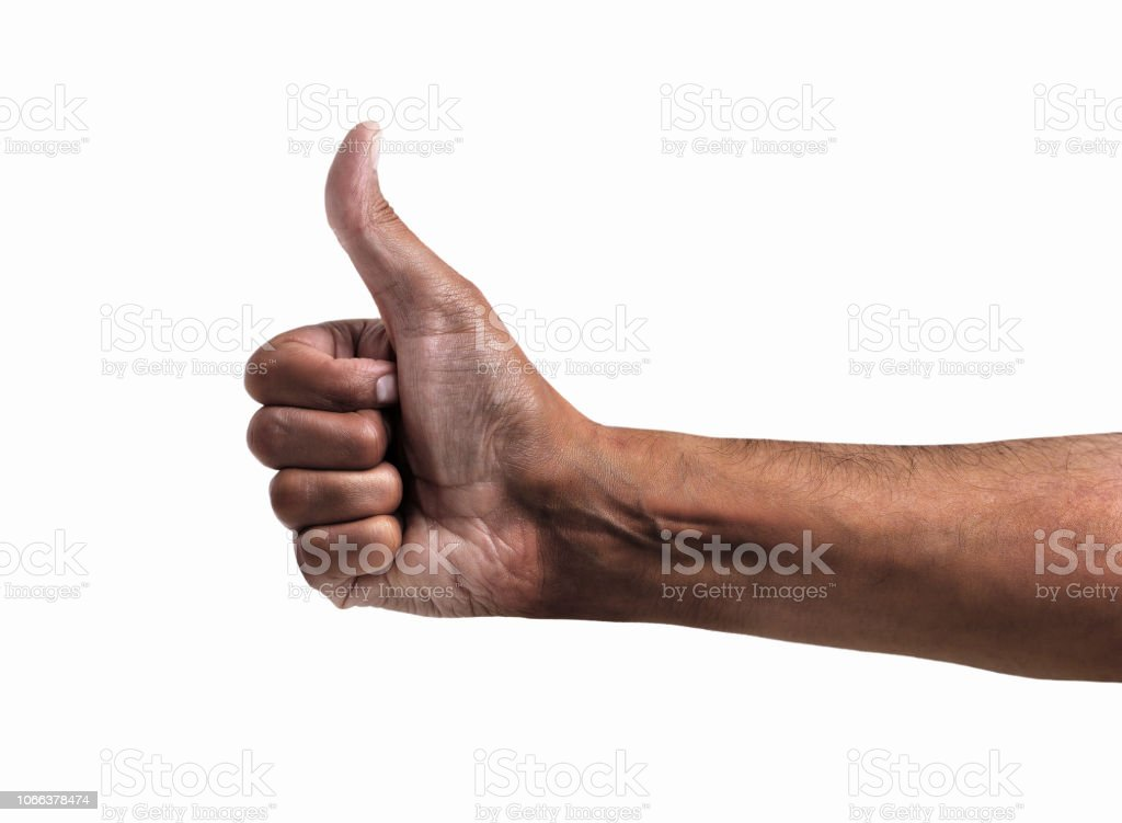 hand symbol hand of an African man tossing a coin isolated on white Adult Stock Photo