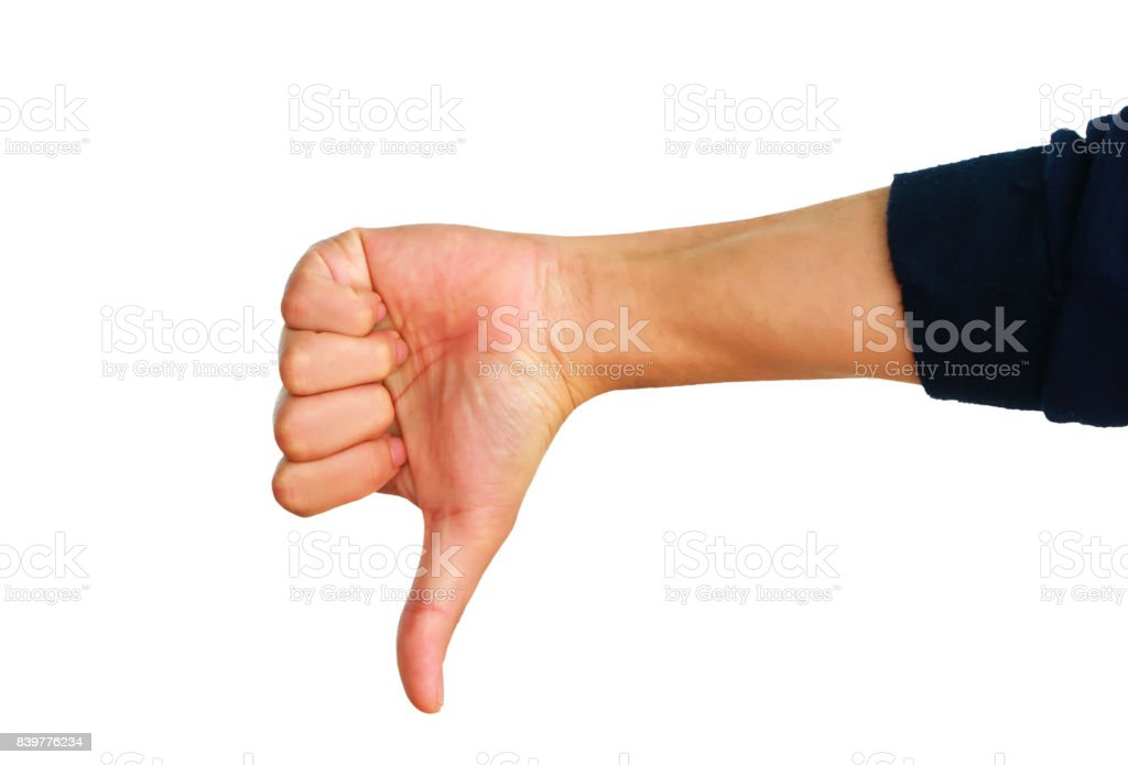 Hand symbol thump down stock photo