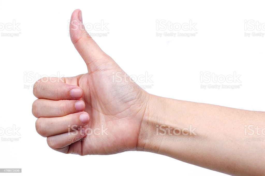 hand thump up isolated on white background stock photo