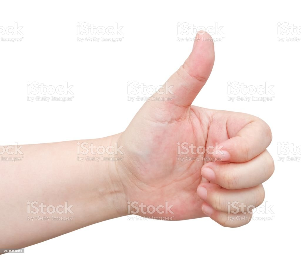 Hand Thump Up Sign on White Background stock photo