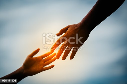 Hand to hand holding connect relationship