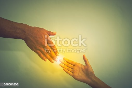 974882202istockphoto Hand to hand show help concept on white background 1046501808
