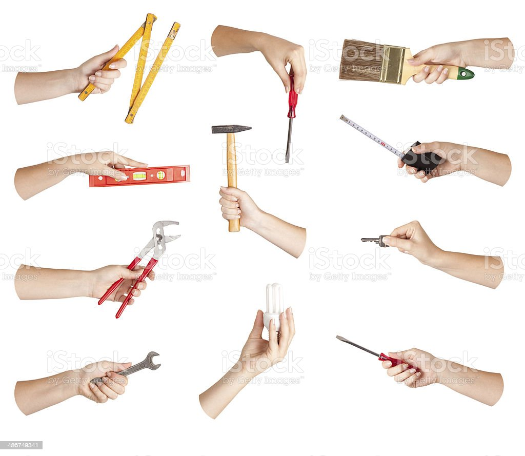 Hand tool set stock photo