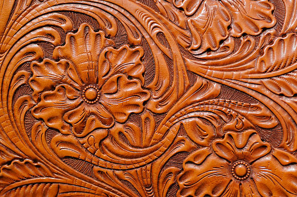Hand Tooled Leather stock photo