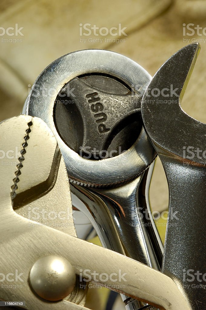 Hand tools and glove royalty-free stock photo