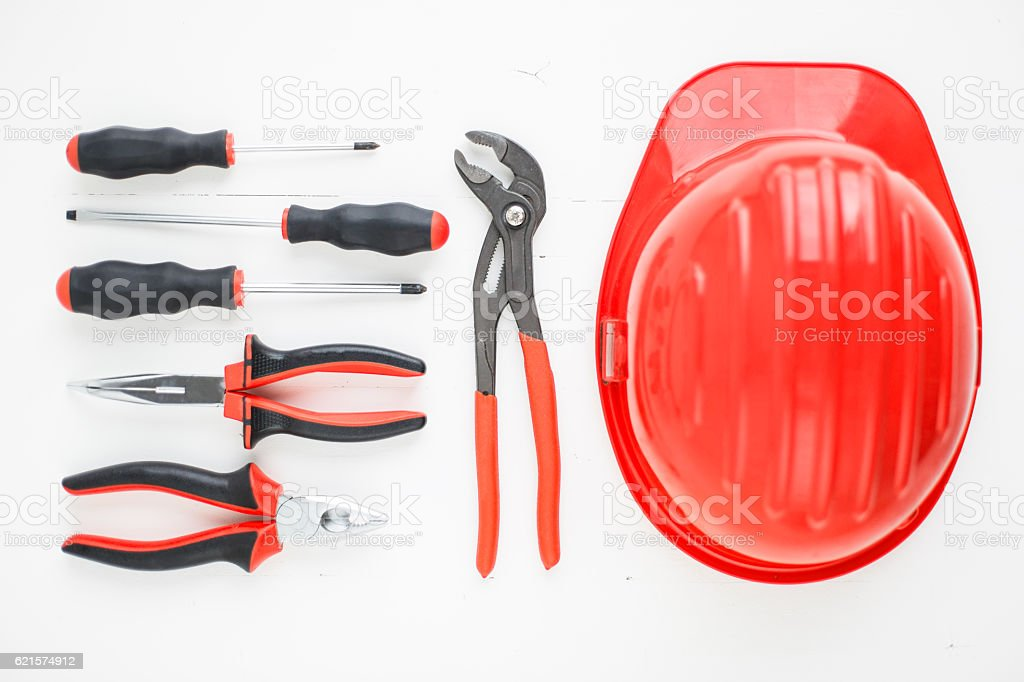 Hand tools and safety helmet knolling photo libre de droits