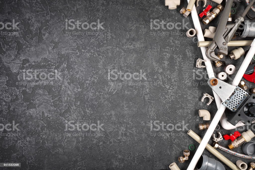 Hand tools and spare parts for sanitary equipment stock photo