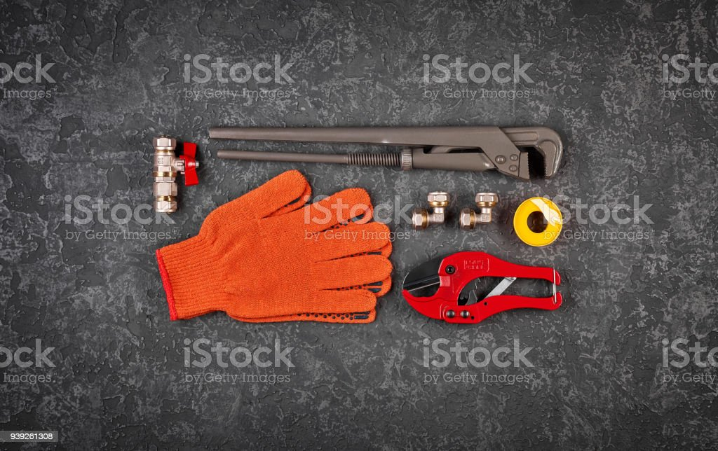 Hand tools for sanitary systems stock photo