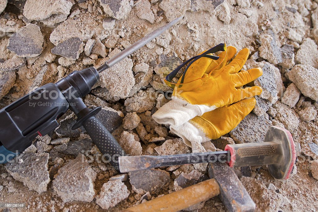 Hand Tools In Construction Area royalty-free stock photo