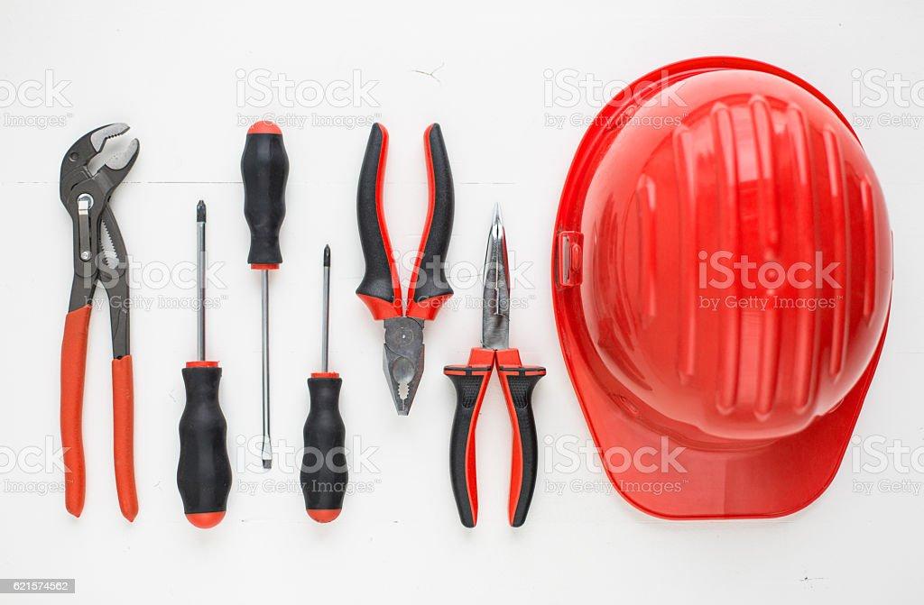 Hand tools set and safety helmet photo libre de droits