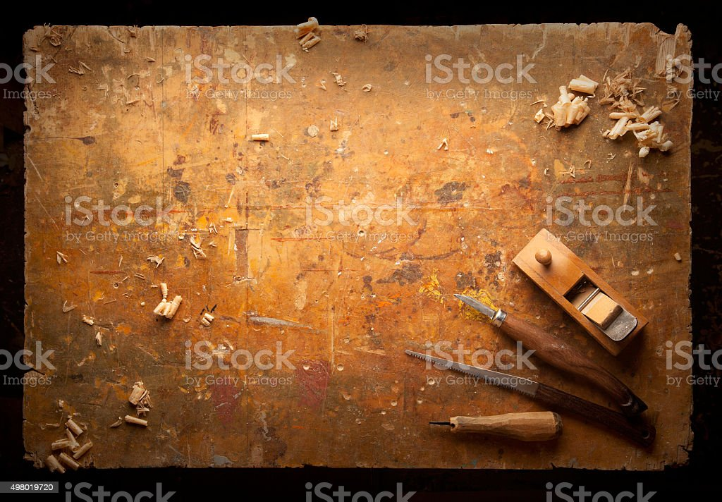 Hand tools Wood on an old wooden workbench stock photo