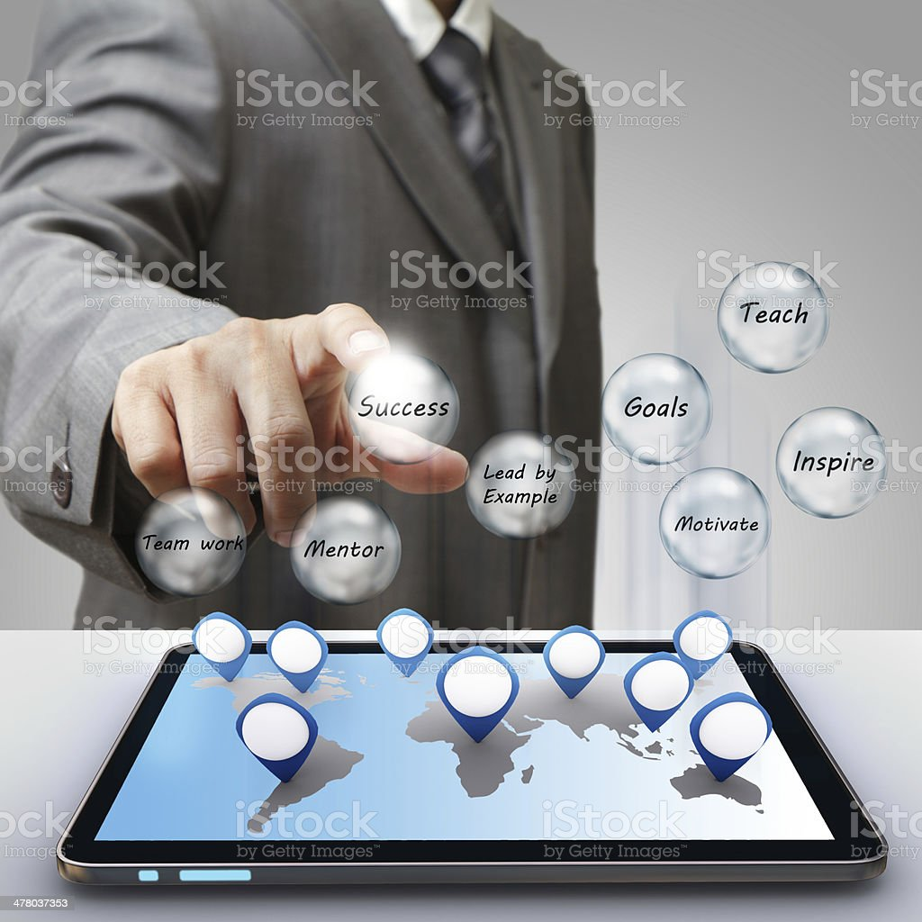 hand touch business success diagram royalty-free stock photo