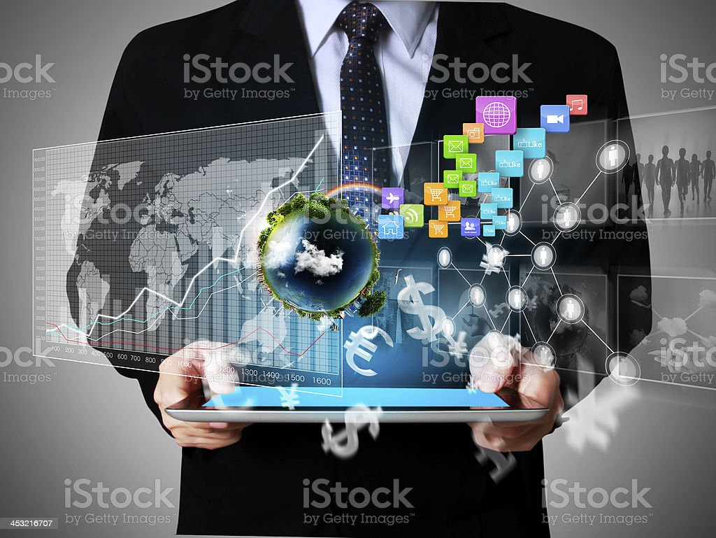 hand touch screen graph on a tablet stock photo