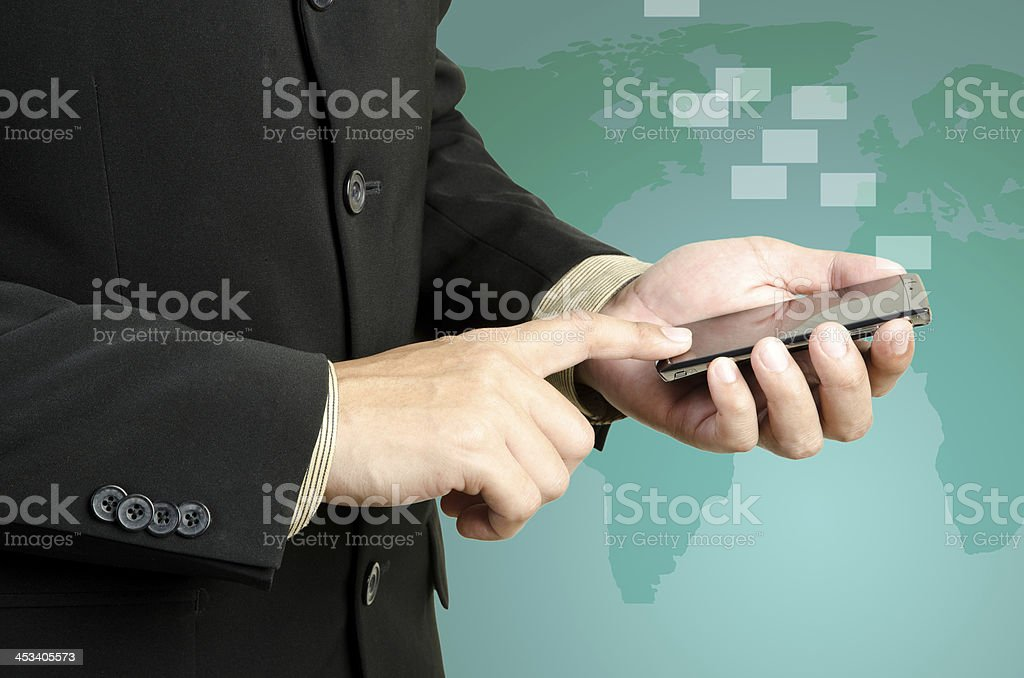 Hand  touch smart phone royalty-free stock photo