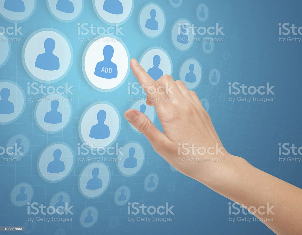 Hand Touch Social Media Icon royalty-free stock photo