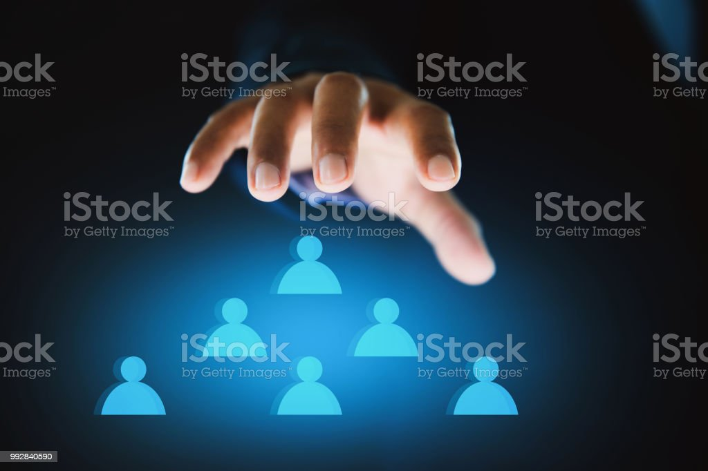 hand touch to control the organization stock photo