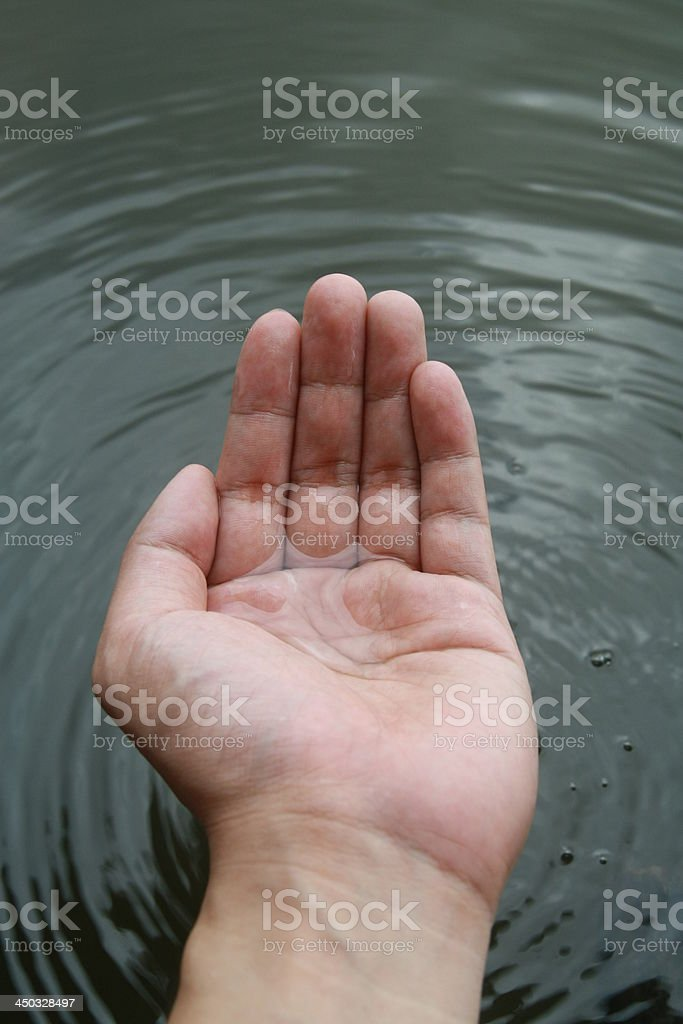 hand touch water stock photo