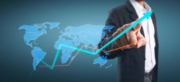 Hand berühren eines Diagramms des Finanzindikators Buchhaltung Marktwirtschaft Analysediagramm – Foto