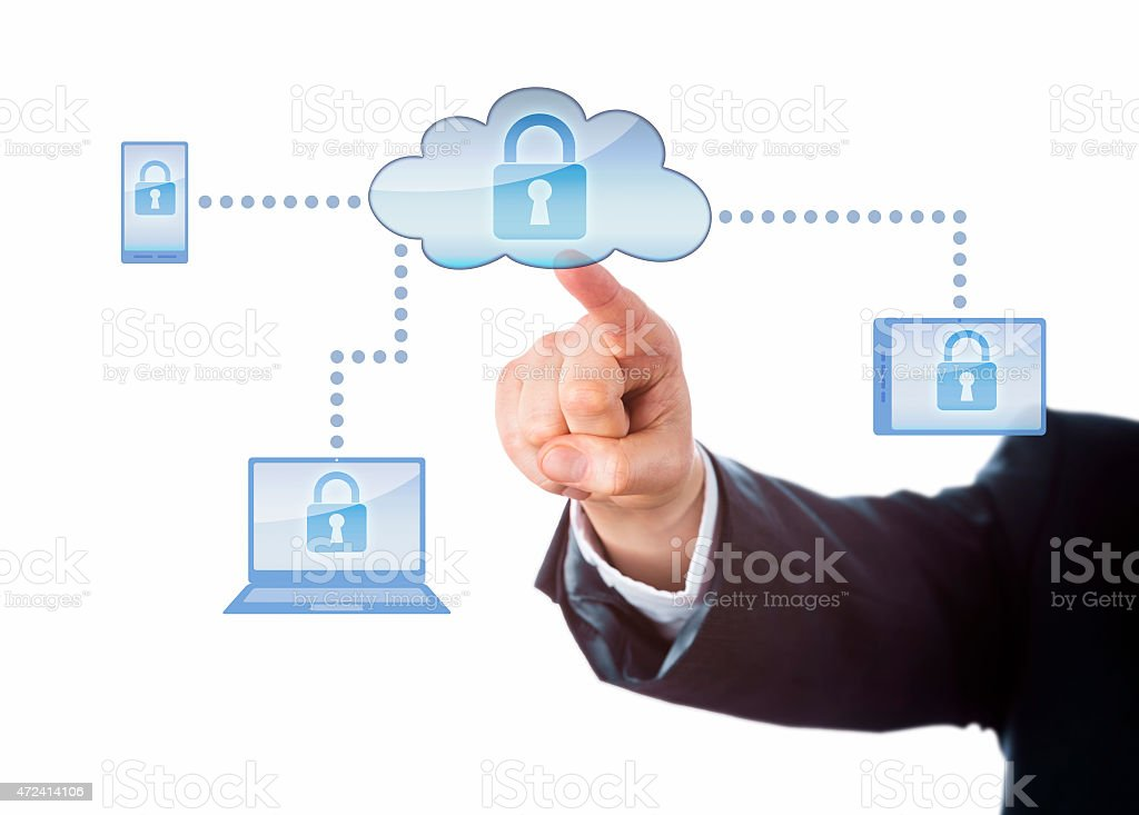 Hand Touching A Locked Cloud Computing Network stock photo