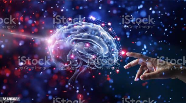 Hand touching brain and network connection on glitter bright lights picture id881350654?b=1&k=6&m=881350654&s=612x612&h=tabulyzkdus38tfaqc9sylhnwrjoqb7eyg2t2blzyag=
