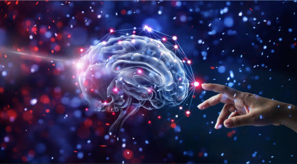 hand touching brain and network connection on glitter bright lights colorful  background - active brain imagens e fotografias de stock