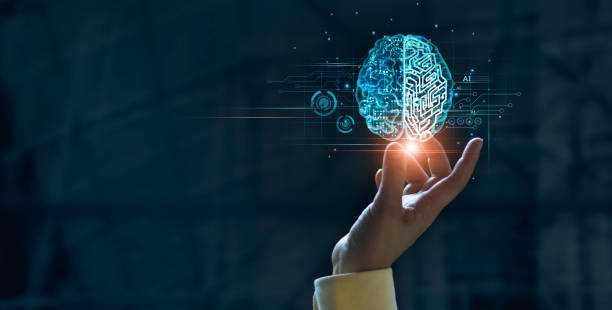 Hand touching brain of AI, Symbolic, Machine learning, artificial intelligence of futuristic technology. AI network of brain on business analysis, innovative and business growth development. stock photo