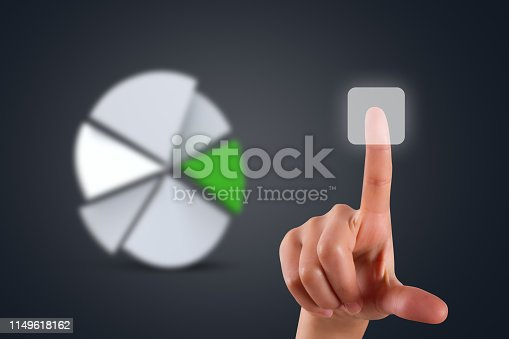 istock Hand Touching Digital Button and Graph Chart Back on Dark 1149618162