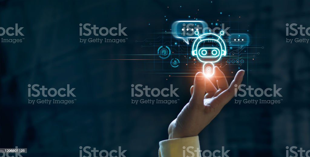 Hand touching digital chat bot for provide access to information and data in online network, robot application and global connection, AI, Artificial intelligence, innovation and technology. Hand touching digital chat bot for provide access to information and data in online network, robot application and global connection, AI, Artificial intelligence, innovation and technology. Advice Stock Photo