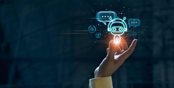 bot de chat digital táctil para proporcionar acceso a la información y los datos en la red en línea, aplicación robot y conexión global, ia, inteligencia artificial, innovación y tecnología. - robot fotografías e imágenes de stock