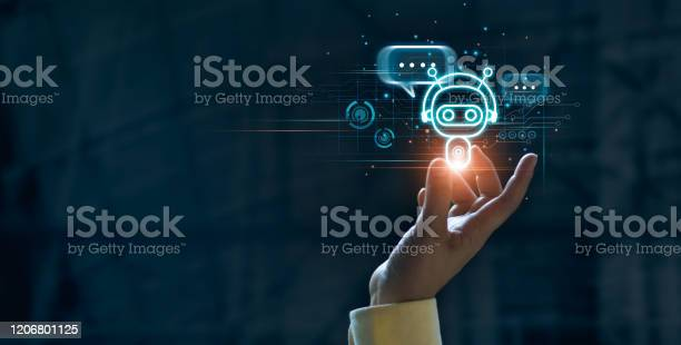 Hand Touching Digital Chat Bot For Provide Access To Information And Data In Online Network Robot Application And Global Connection Ai Artificial Intelligence Innovation And Technology Stock Photo - Download Image Now
