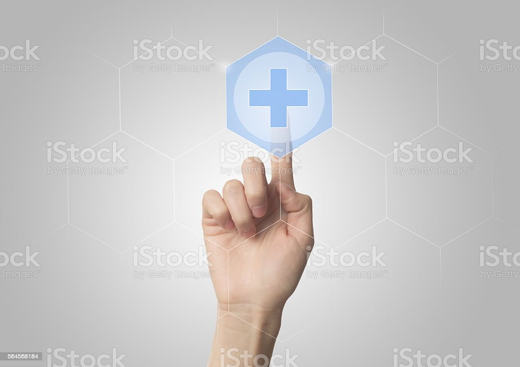 Hand touching E-Health symbol connected to health - foto stock