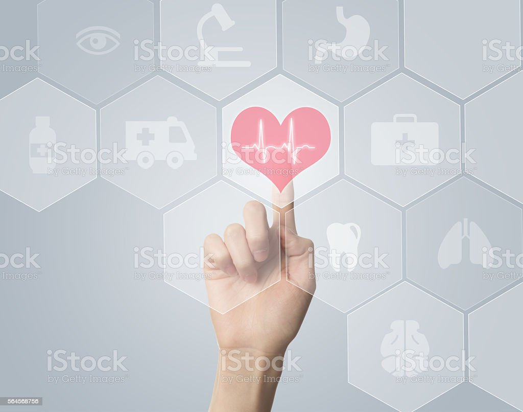 Hand touching E-Health symbol connected to health stock photo