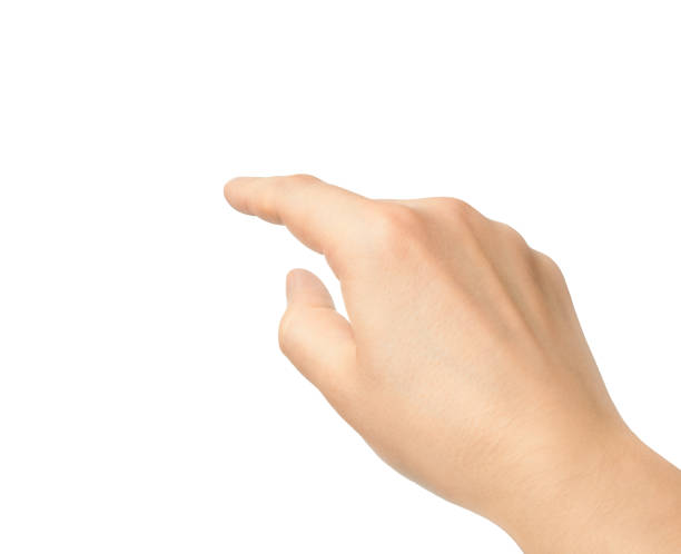Hand touching finger on a white background stock photo