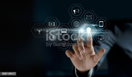 istock Hand touching icon payments global network connection 638106522