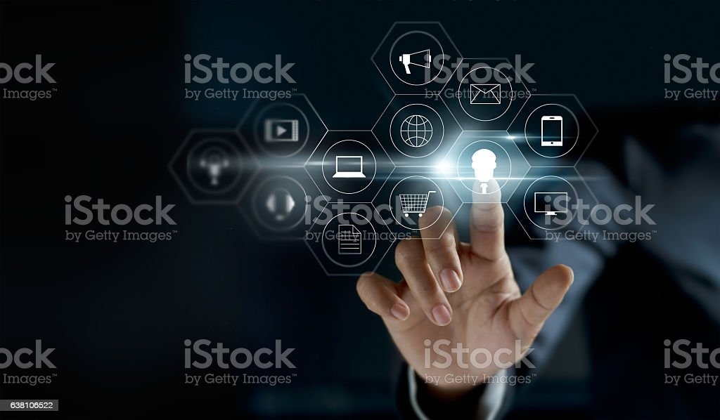 Hand touching icon payments global network connection stock photo