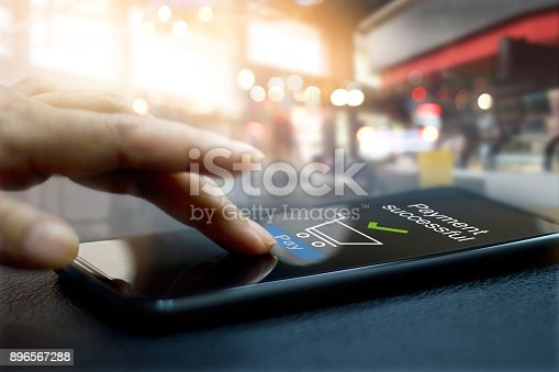 Hand touching mobile screen of a Payment successful message on shopping mall background
