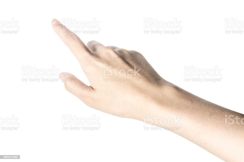 Hand touching or pointing to something royalty-free stock photo