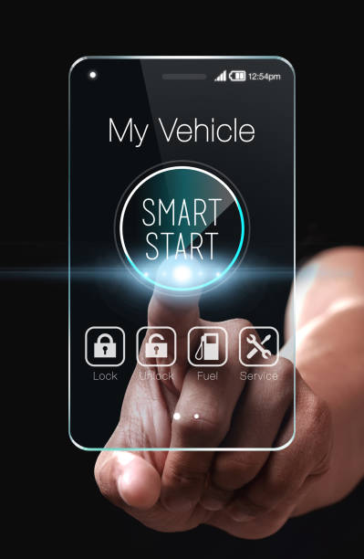 Hand touching smart start icon on smartphone. stock photo
