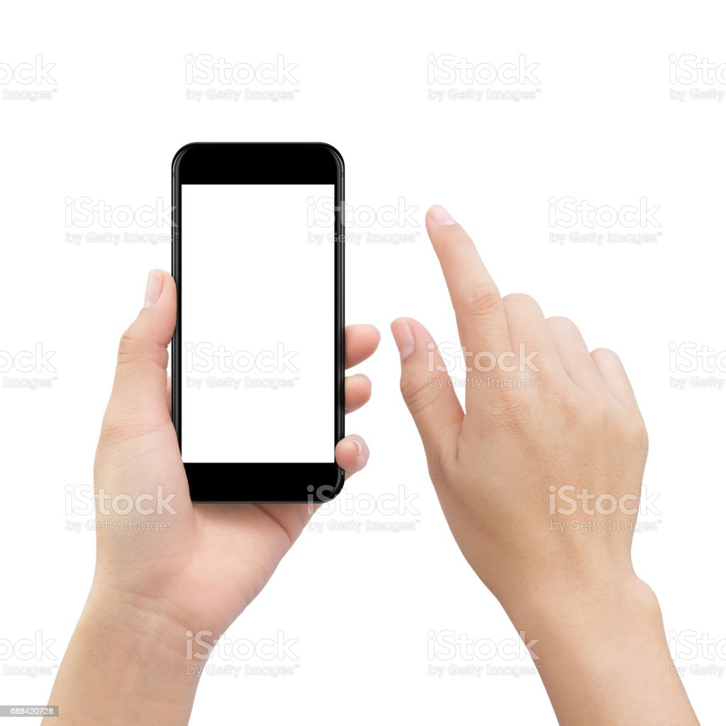 hand touching smartphone screen isolated on white, mock up phone mobile blank screen easy adjustment with clipping path stock photo