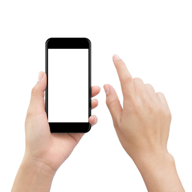 hand touching smartphone screen isolated on white, mock up phone mobile blank screen easy adjustment with clipping path - hand stock photos and pictures