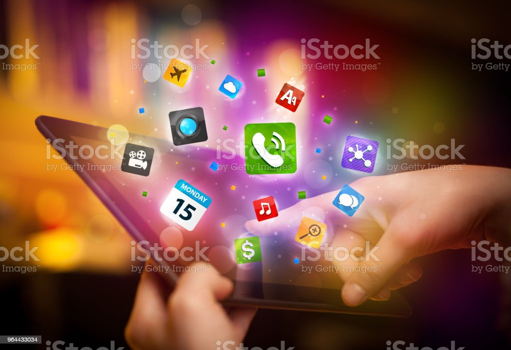 Hand touching tablet pc, social network concept - Royalty-free Business Stock Photo