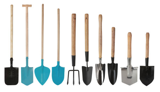 hand Trowels Set of gardening tools, hand Trowels and hand fork isolated gardening equipment stock pictures, royalty-free photos & images